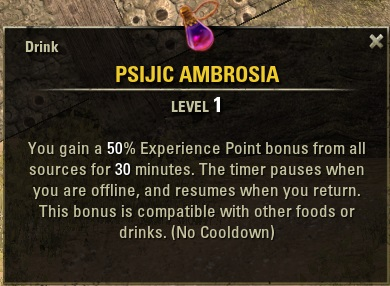 Psijic ambrosia xp booster crafting guide as you see the potion has two amazing characteristics forumfinder Image collections